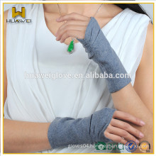 Fashion Women Fingerless Wool Gloves ,Half Finger Gray Wool Gloves for Spring and Autumn