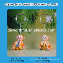 Porta-tarjetas decorativo de poliresina con diseño de mono