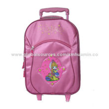 Trolley Luggage Bag with Zipper on Front, Made of Satin, Suitable for Girls and Students