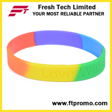 OEM Rainbow Sports Silicone Wristband with Logo