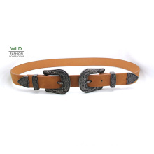 Two Buckles New Fashion Western Lady′s Belt Ky6006