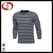 100% Baumwolle gestreifte lange Hülsen-Männer T-Shirts