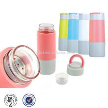 Стеклянная бутылка воды с Infuser силиконовый рукав