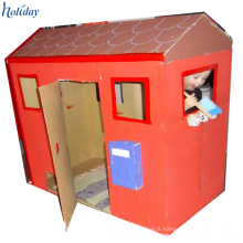 Chambre en carton ondulée d'illustration de papier pour des enfants, jouets de maison de carton