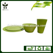 Бамбуковые чашки волокна и блюдце биоразлагаемый набор для свадебного ужина
