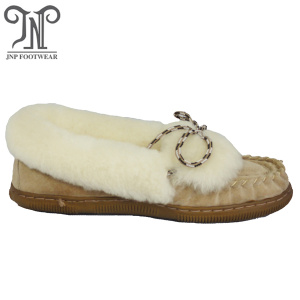 women's fashion sheepskin moccasin slippers with low price