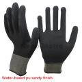 NMSAFETY EN388 4131 13g punto negro palma recubierta de agua a base de PU trabajo / guante de seguridad de buena calidad