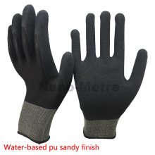 NMSAFETY EN388 4131 13g knit black nylon palm coated water based PU working/safety glove good quality