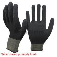 NMSAFETY EN388 4131 13g de malha de nylon preto palm revestido à base de água PU trabalho / luva de segurança de boa qualidade