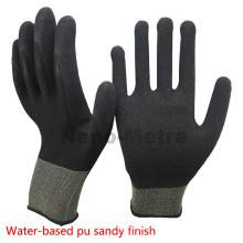 Ладони en388 4131 NMSAFETY 13 г вязать нейлон ладонь покрытием на водной основе ПУ рабочие/защитные перчатки хорошее качество