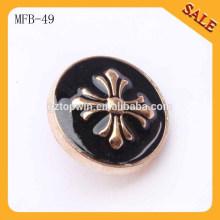 MFB49 Botones personalizados de la caña de metal de la marca de fábrica de lujo con el logotipo en relieve 3D para la ropa