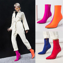 2021 Fashion and Cool Women′s Bag Legs Are Thin Elastic Wedge High Heels MID-Tube Boots