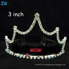 Coronas al por mayor de la MAMÁ del regalo del día de madre de los pequeños accesorios cristalinos del pelo, coronas modificadas para requisitos particulares