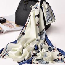 Nueva llegada diseño sarga bufanda de seda de moda señora bufanda del mantón de la impresión 100% poliéster bufanda digital