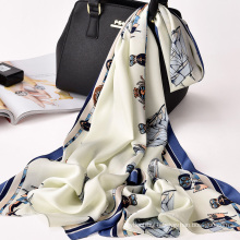 New arrival design twill silk scarf fashion lady 100% polyester scarf digital print shawl scarf