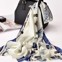 Chegada nova design sarja lenço de seda da senhora da moda 100% poliéster cachecol lenço de impressão digital xale