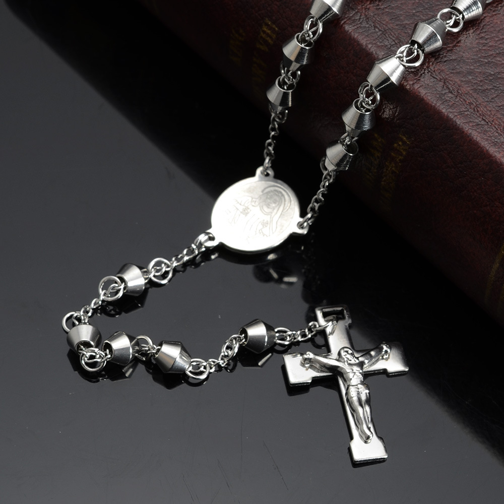 Rosary Beads Necklace Stainless Steel Cross Pendant