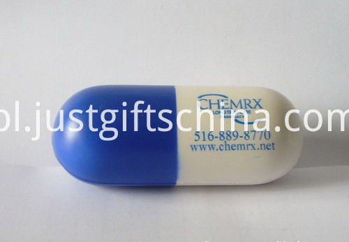 Promotional Capsule Shaped PU Stress Reliever - PMS Matched