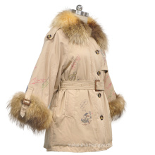 2020 new fashion ladies collar and sleeve with real raccoon fur printed down coat with belt