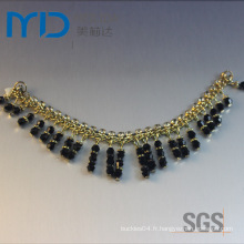 Pendentif en chaîne décoratif avec perles pour sandales pour femmes, chaussons et chaussures habillées
