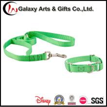 Melhor coleira de cão lisa verde do poliéster dos produtos / trela do animal de estimação