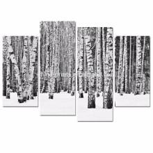 4 Platte Birkenbaum-Wand-Kunst / Schwarzweiss-Waldbilder Druck auf Segeltuch / Winter-Landschaftsplakat