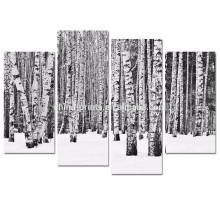 4 Panel Birch Tree Wall Art/Black and White Forest Pictures Print on Canvas/Winter Landscape Poster