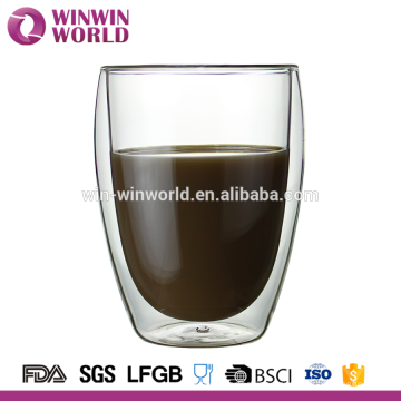 Hot Selling Christmas Handmade Heat Resistant Double Glass Cup
