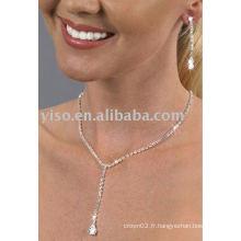 Ensemble de bijoux en strass en forme de perle