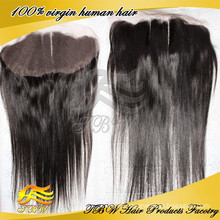"Top Beauty 13""x4"" Three Part Natural Straight Cheap Indian Remy Hair Ear To Ear Lace Frontal With Natural Baby Hair"