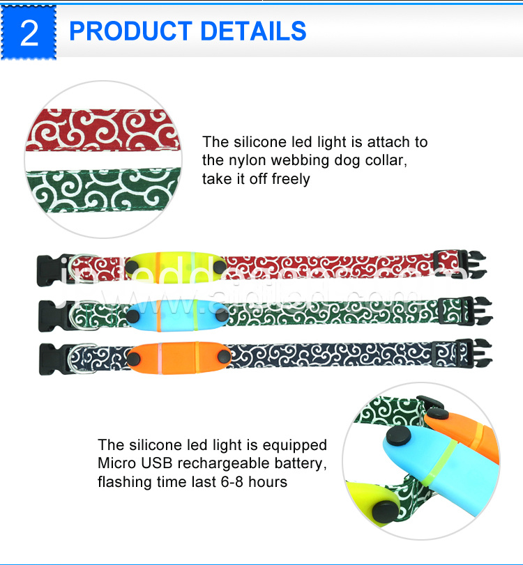 Silicone Nylon Led Dog Collar