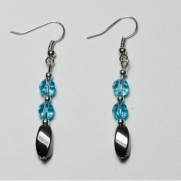 Hematite Heart Earring with silver color finding
