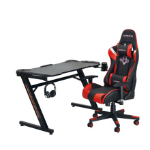 Gaming Table Shaped Computer Desk Racing Style Office Table Gamer PC Workstation Gaming Desk with Free Mouse Pad Handle Rack
