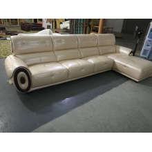 L forma de cuero sofá, sofá seccional de cuero, sofá de cuero italiano (662)