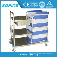 SF-HJ4060 больничная больничная тележка из нержавеющей стали с колесами