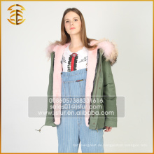 Neuer Entwurfs-Frauen-echter Waschbär-Damen-mit Kapuze realer Pelz-Parka