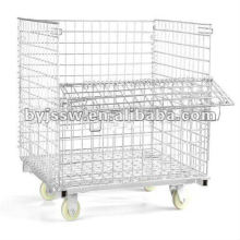 Gavanized Folding Metal Wire Storage Cage with wheels