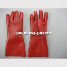 Sandy Finish Jersey Liner Guantlet Cuff PVC Glove-5125. Gd