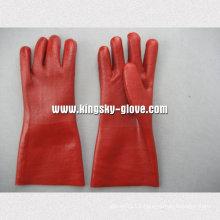 PVC Sandy Finish Jersey Liner Vinyl Glove-5125. Rd