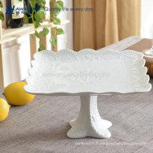 Forme carrée Design de fleurs Porcelaine Hôtel Plats à emporter pour fruits, plaque de fruits en céramique Conception sur mesure