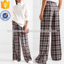 Plisado de sarga de tela escocesa de pierna ancha pantalones fabricación al por mayor de moda mujeres ropa (TA3005P)