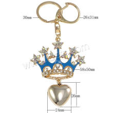 Crown shapegold Farbe überzogene Rhinestone-Zink-Legierungs-Schlüsselkette