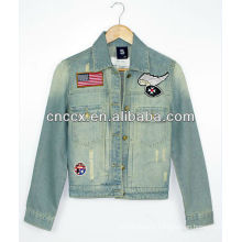 14LJ1072 Long sleeve embroidery womens denim jacket