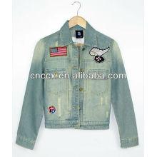 14LJ1072 manga longa bordado das mulheres denim jaqueta