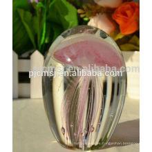 bola de cristal de la medusa del cristal ful del color, bola de cristal con el animal para el favor del regalo
