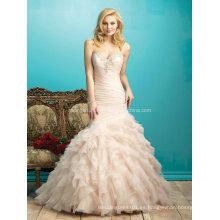 2016 de organza de seda de volantes de moda boda vestidos de novia