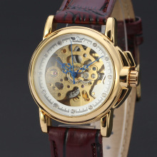 vintage elegant mechanical watch with burgundy leather band watch