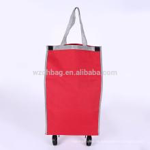 Auf Rädern Kundenspezifischer Großverkauf-Polyester-Einkaufswagen-Laufkatzen-Tasche für Förderung und Reise
