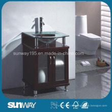 Bodenstehende Massivholz-Badezimmermöbel mit Waschbecken
