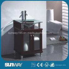 Meubles de salle de bain en bois massif au sol avec évier